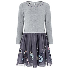 Monsoon - Girls' grey 'Enchanted' 2 in 1 dress