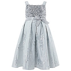 Monsoon - Girls' silver 'Elanora' jacquard dress