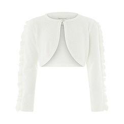 Monsoon - Girls' white ruffle sleeve cardigan