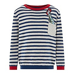 Monsoon - Boys' brown 'Leo' London Dino striped jumper