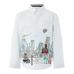 Monsoon - Boys' white mason london scene long sleeve shirt