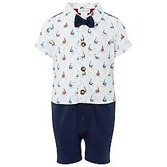 Monsoon - Boys' White newborn Charlie shirt and bowtie romper
