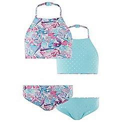 Monsoon - Girls' Pink Pearly Print Reversible Bikini
