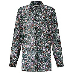 Monsoon - Black 'Peony' print shirt