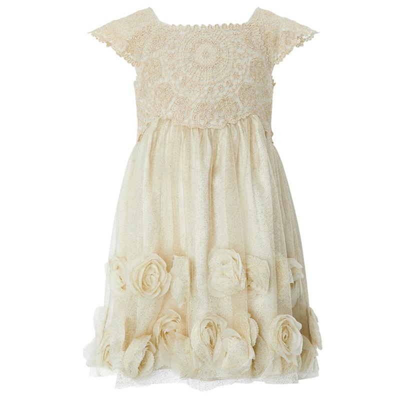 MONSOON | Monsoon - Gold Baby 'Estella' Roses Dress | Goxip