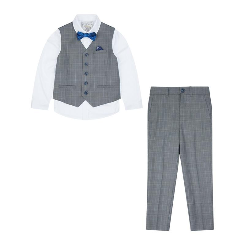 MONSOON | Monsoon - Boys' Grey Zachary Complete Waistcoat Set | Goxip