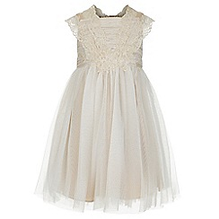 Monsoon - Gold baby Estella flower crochet ii dress