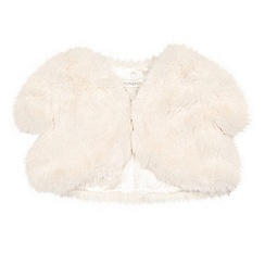 Monsoon - White baby 'Saskia' faux fur jacket