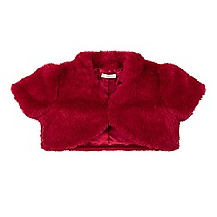 Monsoon - Red girl's 'Saskia' short sleeve faux fur jacket