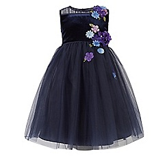 Monsoon - Blue girl's 'Fallon' velour dress