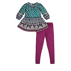 Monsoon - Green girl's 'Valentina' tunic and legging set