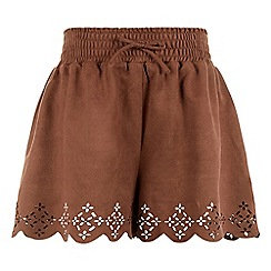 Monsoon - Brown girl's 'Alanis' suedette shorts
