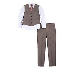 Monsoon - Grey boy's 'Alan' 4 piece suit and tie set