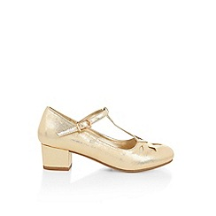 Monsoon - Gold girl's 'Gatsby' shimmer T-bar charleston shoes