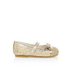 Monsoon - Gold girl's glitter toe cap walker shoes