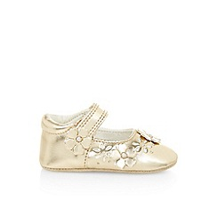 Monsoon - Gold baby applique cutwork flower booties