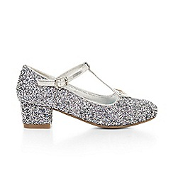 Monsoon - Silver girl's mixed glitter T-bar charleston shoes