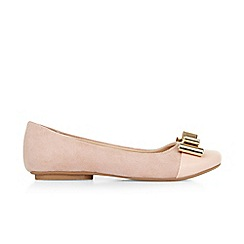 Monsoon - Pink girl's gold bow ballerina shoes