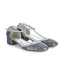 Monsoon - Silver girl's vintage t-bar block heel shoes