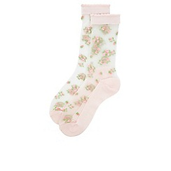 Monsoon - Pink Sheer floral lace trim socks