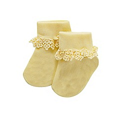 Monsoon - Yellow Baby heart daisy trim socks