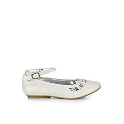 Monsoon - Silver Shimmer diamante ballerina shoes