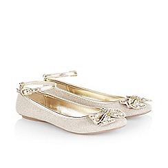 Monsoon - Gold girl's studded bow ankle strap ballerina shoes