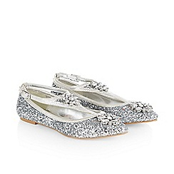 Monsoon - Silver girl's glitter and jewel almond toe ballerina shoes