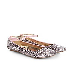 Monsoon - Purple girl's glitter ankle strap ballerina shoes
