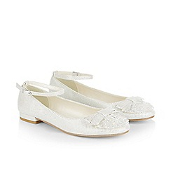 Monsoon - White girl's sparkle gem ankle strap flat shoes