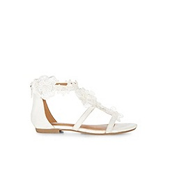 Monsoon - White Lace and pearl flower sandals
