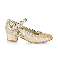 Monsoon - Gold Sparkle cutout ankle strap charleston shoes