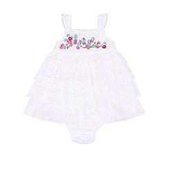 Monsoon - White Newborn amie ruffle dress and knicker set