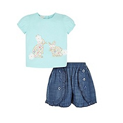 Monsoon - Green Baby betty bunny top and short set