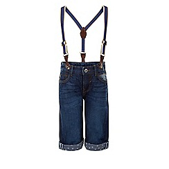 Monsoon - Blue Dale denim shorts with braces