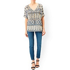 Monsoon - Ivory Leticia print top