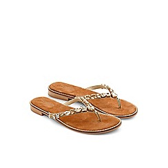 Monsoon - Tan 'Anica' jewel toe post sandal