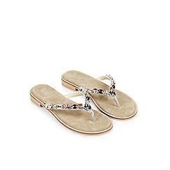 Monsoon - Brown 'Anica' jewel toe post sandal