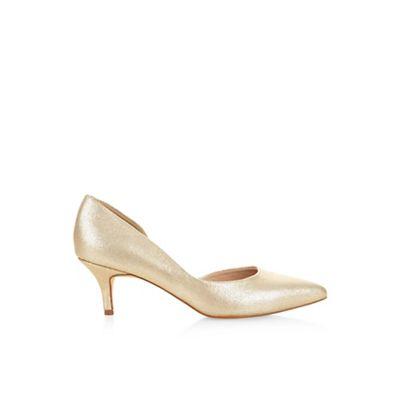 Monsoon Gold Thalia kitten heel point court shoe