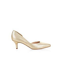 Monsoon - Gold 'Thalia' kitten heel point court shoe