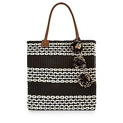 Monsoon - Black Jenelle stripe straw bag