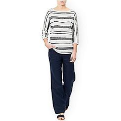 Monsoon - Ivory 'Estelle' linen stripe jumper