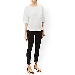 Monsoon - White 'Frenchie' linen t-shirt