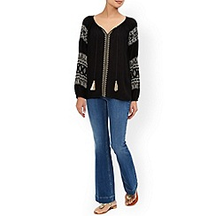 Monsoon - Black Bella embroidered top