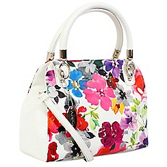 Daniele Donati - White floral print faux leather medium handbag