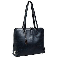 Daniele Donati - Navy faux leather large handbag