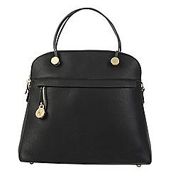Daniele Donati - Black faux grained leather medium handbag