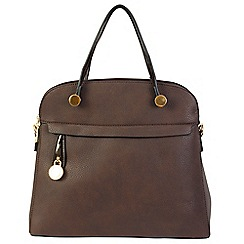 Daniele Donati - Brown faux grained leather medium handbag