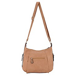 Enrico Benetti - Taupe panelled ziptop shoulder bag