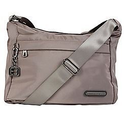 Enrico Benetti - Taupe smooth nylon shoulder bag